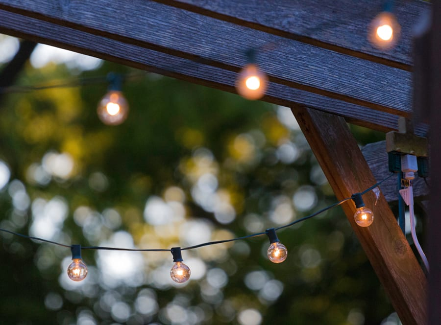 Backyard patio string lights