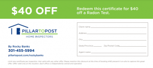 Radon Testing Coupon by Rocky Banks